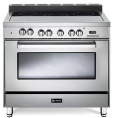 Verona 36 Inch Electric Range with 4 cu. European Convection Oven, Black Ceramic Glass Cooktop, 5 Burners, Dual Center Element, Chrome Knobs and Handle: Stainless Steel Single Oven, Glass Cooktop, Electric Stove, Oven Range, Fireplace Accessories, Verona, Gallery, Series 4, Ranges