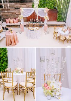 glamorous gold and pink reception