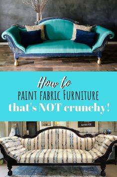 Painting Fabric Furniture is easier than you think! - - Painting fabric furniture is so much fun and way easier than reupholstering. not to mention way less expensive. You gotta try it for yourself! Painting Fabric Furniture, Paint Upholstery, Upholstered Furniture, Paint Furniture, Furniture Makeover, Cool Furniture, Furniture Design, Furniture Projects, Chalk Paint Fabric