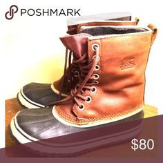 Sorel Boots Waterproof, leather rain boots. Worn only few times. Sorel Shoes Winter & Rain Boots