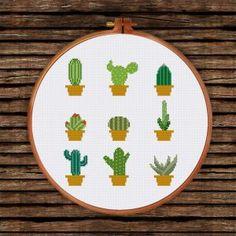 Funny & Cute - Ritacuna Cactus Cross Stitch, Cross Stitch Tree, Simple Cross Stitch, Cross Stitch Kits, Modern Cross Stitch Patterns, Cross Stitch Designs, Cross Stitching, Cross Stitch Embroidery, Cactus Embroidery