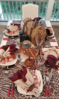 Safari Table Setting with Noritake Colorwave and Alpine Toile Dinnerware. An autumn tablescape with finds from my recent antique shopping trip from Between Naps on the Porch. Table Setting Design, Fall Table Settings, Place Settings, African Theme, African Safari, Safari Theme Party, Flatware Storage, Kwanzaa, Antique Shops