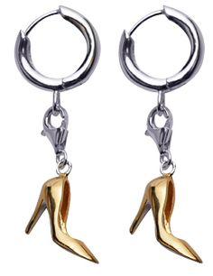 18K Gold Over Sterling Silver Earrings: High Heel Shoe in Gold Enamel >> Really, who doesn't need these?