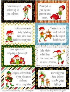 FREE printable ELF good deed cards. A4. Enjoy!