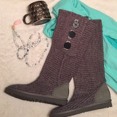 LIKE NEW Authentic Ugg Classic Cardy Boot Stay warm with this versatile Gray Classic Cardy boots! Authentic Ugg boots that have only been worn twice! No scuffs, rips, tears, etc! No box. Purchased at Nordstrom. Can be worn high or low! I wear a 7.5 shoe typically and this 7 fits great! UGG Shoes Winter & Rain Boots