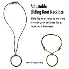 Adjustable Sliding Knot Necklace - tutorial by Rena Klingenberg
