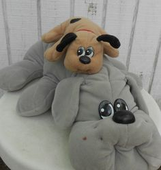 80s Toy Pound Puppy Set of Two Grey Mother and by kerrilendo. $12.00 USD, via Etsy.