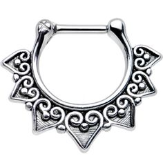 "16 Gauge 1/4"" Steel Barbell Ornate Heart Detailed Hoop Septum Clicker 