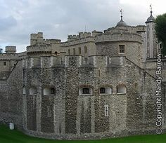 Tower wall--The White Tower.: In the centre of the Tower of London is the famous White Tower. It is the oldest part of the fortress and was built on the site of the Norman Keep built by William the Conqueror.The Tower, or Bloody Tower as it is known, has been host to many famous executions and imprisonments, including those of Anne Boleyn, Catherine Howard, Lady Jane Grey and Sir Walter Raleigh.