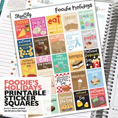 Foodies Holiday sticker box Printable Planner by StarCityDesigns