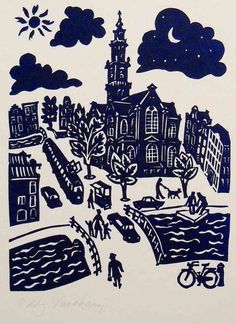 Westerchurch in Amsterdam - Linocutprint