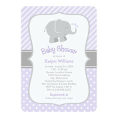 Purple and Gray Elephant Baby Shower Invitations. A cute design with a pattern of classic diagonal stripes with playful polka dots and includes a color scheme of light lavender purple, gray and white. Artwork designed by Plush_Paper