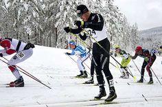 Olympiavoittaja Dario Cologna (edessä) ja muut huiput etenivät tasatyönnöllä 90…