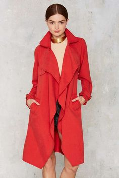 Trench Warmer Belted Coat - Red - Clothes | Valentine's Day | Valentine's Day | Trench