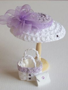 Handmade 1/12th scale dollshouse miniature lavender hat with flowers & matching purse