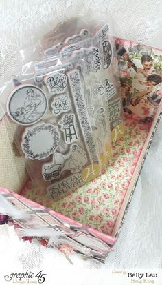 Stamp Storage Box - Graphic 45 - Mon Amour - May Arts Blog Hop - Belly Lau - Tutorial