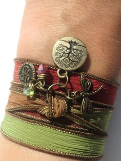 Tree of Life Dragonfly Silk Wrap Bracelet Yoga Jewelry Om Namaste Bohemian Jewelry Autumn Fall Earthy Unique Gift Under 50 Item by BohemianEarthDesigns on Etsy Bracelet Wrap, Silk Wrap Bracelets, Gypsy Bracelet, Bracelet Holders, Stretch Bracelets, Colar Boho, 16 Tattoo, Tattoo Tree, Wrist Tattoo