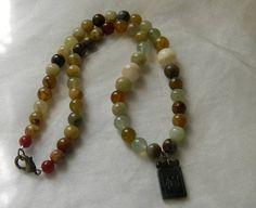 Vintage jade pendant with jade flower beads necklace  beaded