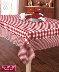 """Tablecloth Country Checkered Gingham Buffalo Red White Black 52"""" x 70"""" Cotton"""