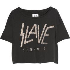 Zoe Karssen Slave 1980 cotton and modal-blend T-shirt ($43) ❤ liked on Polyvore featuring tops, t-shirts, shirts, blusas, crop t shirt, loose shirts, black shirt, cotton shirts and black crop tee