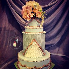 Marie Antoinette inspired Wedding Cake by Reva Alexander-Hawk for Merci Beaucoup Cakes, featuring sugar blossoms, tapestry design and gold gliding.
