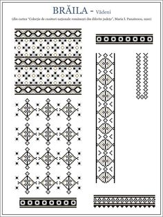 Semne Cusute: MUNTENIA, model de ie din Braila, Vadeni Embroidery Sampler, Folk Embroidery, Embroidery Stitches, Embroidery Patterns, Machine Embroidery, Floral Embroidery, Cross Stitch Borders, Cross Stitching, Cross Stitch Patterns
