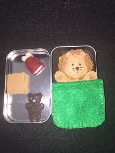 Lil' Maties- male lion in a tin house with a green bed set by MatiesMeadow on Etsy https://www.etsy.com/listing/227331214/lil-maties-male-lion-in-a-tin-house-with