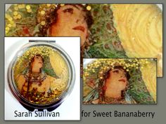 Chrome mirror compact with Masters Art,  Alphonse Mucha!   peacock lady........ Beautiful!