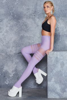 Sporty Stripes Lilac Hosiery - LIMITED ($30AUD) by BlackMilk Clothing