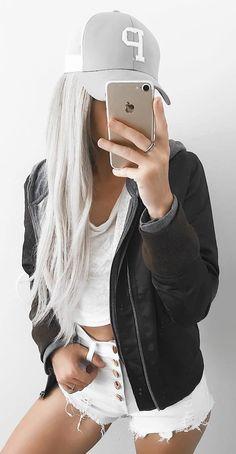 stylish look | black jacket + hat + whie t-shirt + shorts