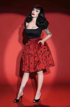 Deadly Dames Darling Dames Skirt in Fetish | Micheline Pitt| Pinup Girl Clothing
