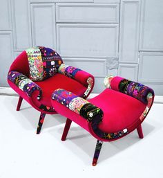 Smiley Patchwork chair and pouf .