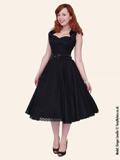 1950's luxury black halterneck satin lace jurk   Retro jurkjes   Misspoppywear, retro boetiek