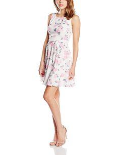 Mela Women's Rose Print Sleeveless Floral Sleeveless Dress, Pink  Amazon.co.uk: Clothing