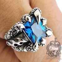 Men's ring Blue Sapphire Dragon Claw Sterling