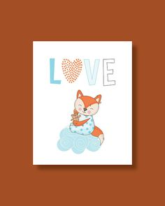 Fox Nursery Art Print Baby Fox Love Decor by HappyLittleBeans Fox Nursery, Nursery Wall Art, Nursery Decor, Art Wall Kids, Art For Kids, Fox Art, Baby Prints, Handmade Gifts, Children