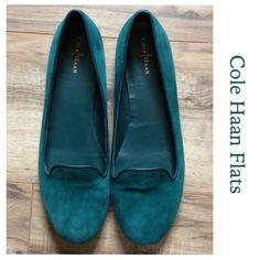 Cole Haan Emerald Green Loafer Size 10B Cole Haan Emerald Green Loafers are in terrific shape.  Ladies size 10B Flats. Insoles & soles are Gently loved. Runs too narrow for me. Cole Haan Shoes Flats & Loafers