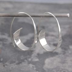 Sterling Silver Curled Ribbon Hoop Earrings