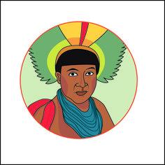 Hilda Souto. Índio. Ilustração digital para site.