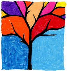FINE ART 1ST GRADE | This abstract tree makes a really bold image and also offers a lesson ...
