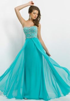 2014 Blush Flowy Long Prom Dress 9764