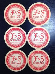 6 F & S Fuhrmann And Schmidt Brewing Co Beer Coasters Shamokin PA