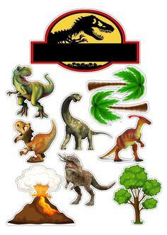 Clique na imagem e visite nosso site, lá você encontrará essa e outras imagens em alta qualidade. Dinasour Birthday Cake, Dinosaur Birthday Party, Dinosaur Cake Toppers, Birthday Cake Toppers, Jurassic World Cake, Festa Jurassic Park, Die Dinos Baby, Dinosaur Printables, Dinosaur Images