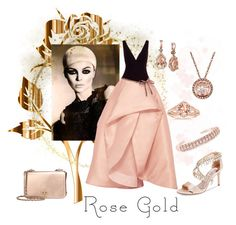 """Rose Bold"" by lavalu-1 ❤ liked on Polyvore featuring Monique Lhuillier, LE VIAN, Lord & Taylor, Ross-Simons, Badgley Mischka, Tory Burch and rosegold"