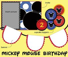 Freebie Mickey Mouse Party...invite, banner, cupcake toppers