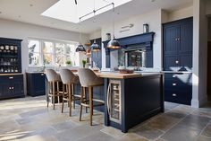 Open plan kitchen with large dark blue bespoke island - The Main Company Small Open Plan Kitchens, Open Plan Kitchen Dining Living, Open Plan Kitchen Diner, Living Room Kitchen, Kitchen Layout, Home Decor Kitchen, Kitchen Design, Life Kitchen, Dining Room