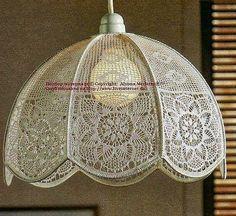 Crochet y Dos agujas: Pantalla tejida con ganchillo de estilo romántico