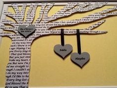 Personalized Wedding Gift - Wedding Song Lyrics 3D Paper Tree - Customized - 8x10 NOT FRAMED. $25.00, via Etsy.