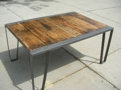 Vintage Industrial Dining or Kitchen Table. Repurposed Factory Pallet. $995.00, via Etsy.