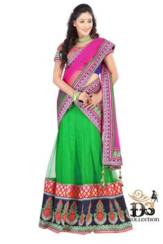 You Will Be The Center Of Attention In This Attire. This Deep Green and Magenta color brocket Lehenga choli Is Accenting The Gorgeous Feeling. The Embroidery & Stones Work On Attire Personifies The Entire Appearance.